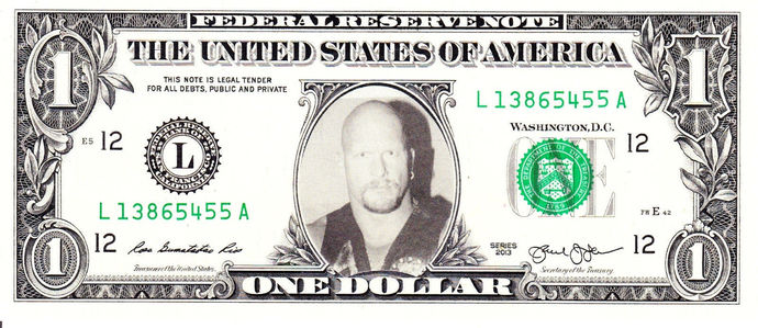 Stone Cold Steve Austin WWE on Real Dollar Bill Cash Money Collectible