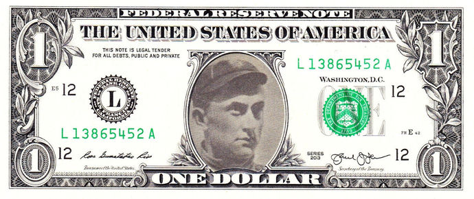 TY COBB on Real Dollar Bill Cash Money Collectible Memorabilia Celebrity Novelty