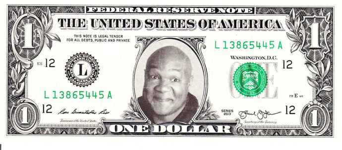 GEORGE FOREMAN on Real Dollar Bill Cash Money Collectible Memorabilia Celebrity