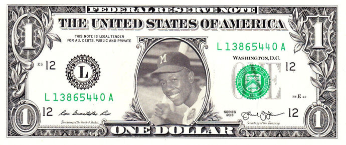 HANK AARON on Real Dollar Bill Cash Money Collectible Memorabilia Celebrity