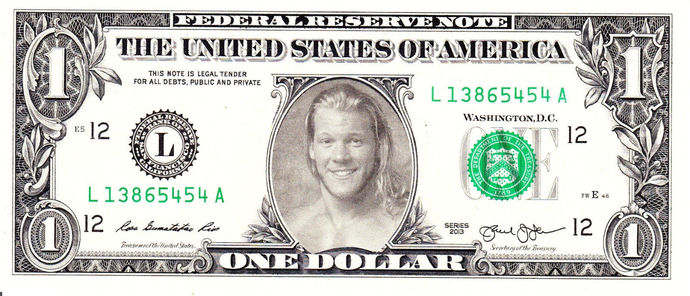 Chris Jericho WWE on Real Dollar Bill Cash Money Collectible Memorabilia