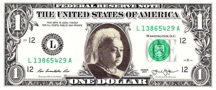 QUEEN VICTORIA on Real Dollar Bill Cash Money Collectible Memorabilia Celebrity