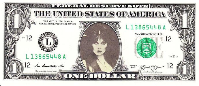ELVIRA on Real Dollar Bill Cash Money Collectible Memorabilia Celebrity Novelty