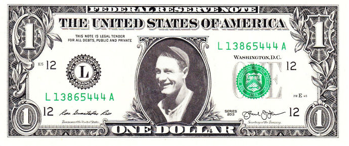 LOU GEHRIG on Real Dollar Bill Cash Money Collectible Memorabilia Celebrity