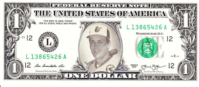 CAL RIPKEN on Real Dollar Bill Cash Money Collectible Memorabilia Celebrity