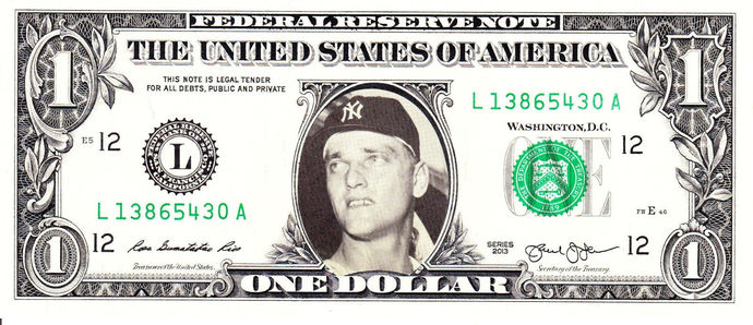 ROGER MARIS on Real Dollar Bill Cash Money Collectible Memorabilia Celebrity