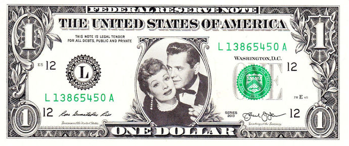 Lucy & Desi on Real Dollar Bill Cash Money Collectible Memorabilia Celebrity