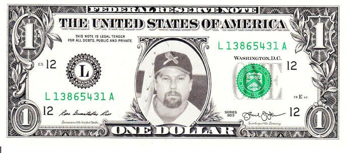 MARK MCGWIRE on Real Dollar Bill Cash Money Collectible Memorabilia Celebrity