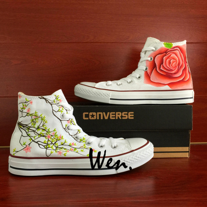 Original Design Hand Painted Flower Shoes Rose Floral Spray Graffiti Converse