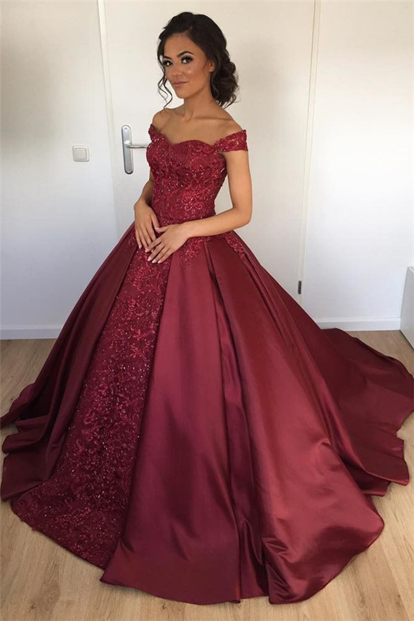 Burgundy Ball Gown Elegant 2018 Prom by Cocopromdress on Zibbet