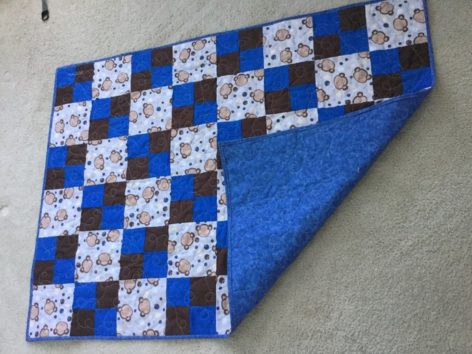 Baby Monkey 4-Patch Quilt