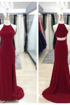 Elegant Burgundy Long Prom Dress with Slit prom dresses of party dresses