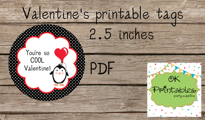 Valentine's Day Tag / Stickers / Cute Penguin Valentine tags 2/ Classroom
