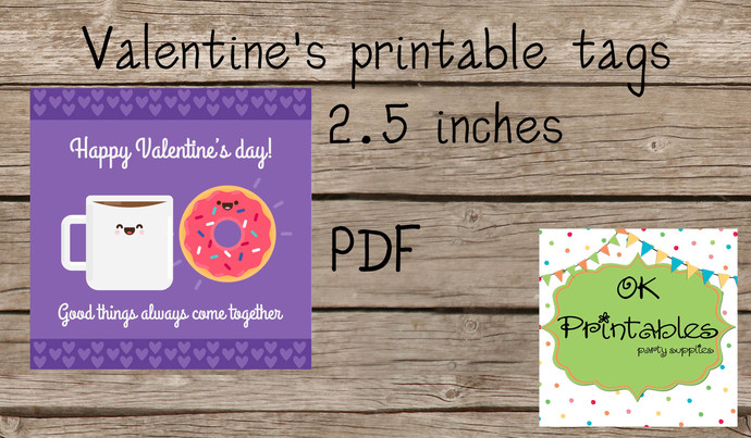 Valentine's Day Tag / Stickers / Milk & Donut  Valentine tags/ Classroom