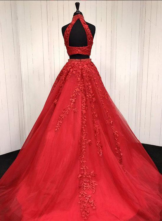 Red Two Pieces Lace Tulle Long Prom Dress, Red Evening Dress, Two Pieces Prom