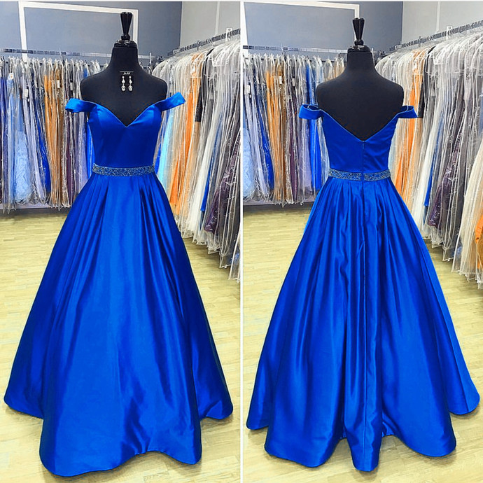 Royal Blue Prom Dresses,Long Satin Evening Gowns,V Neck Prom Dress,Sexy Off