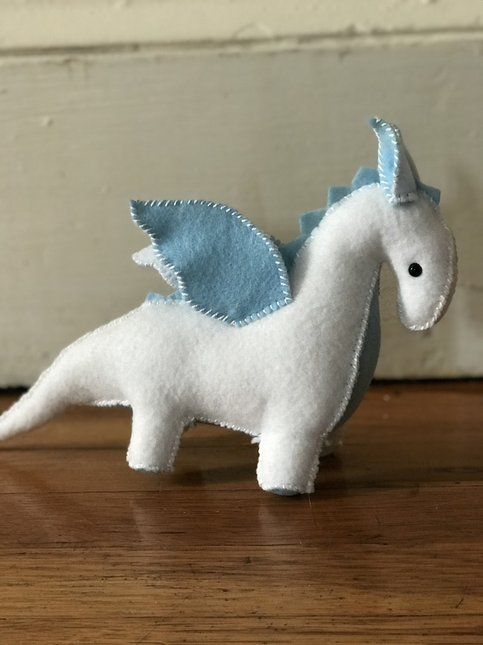 Blue Baby Blanket Dragon - handcrafted stuffed toy Dragon by My Wee Dragon