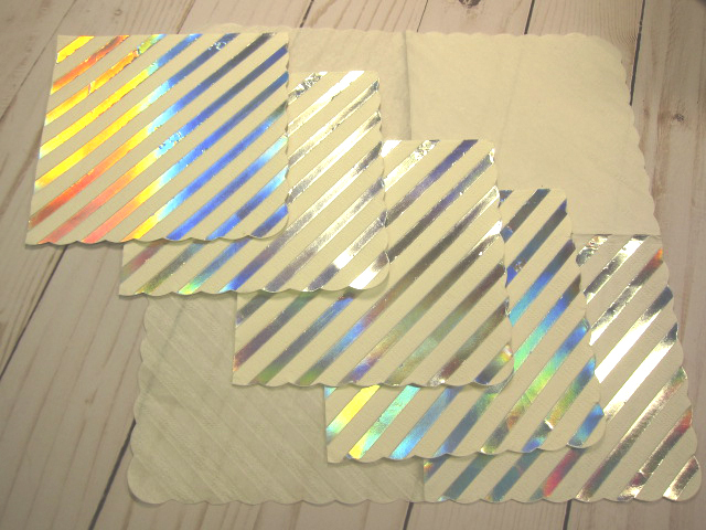 5pcs Foiled Silver Stripe Napkin Set