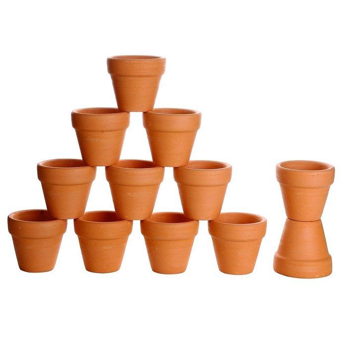 Miniature Dollhouse Clay Flower Pots - 12 for Doll House