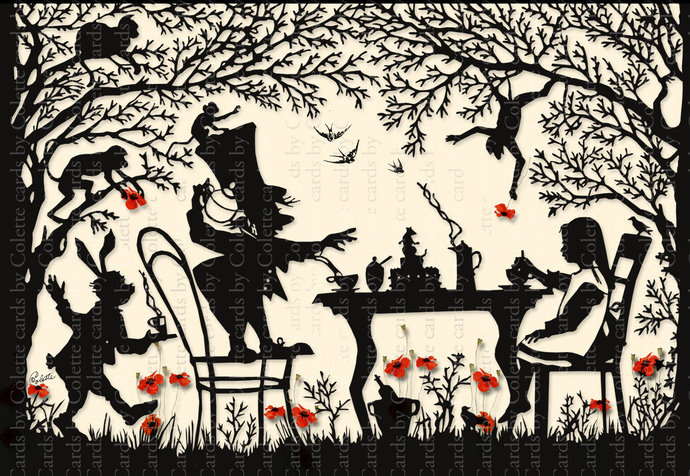 Alice Tea Party Silhouette Digital Collage Greeting Card979