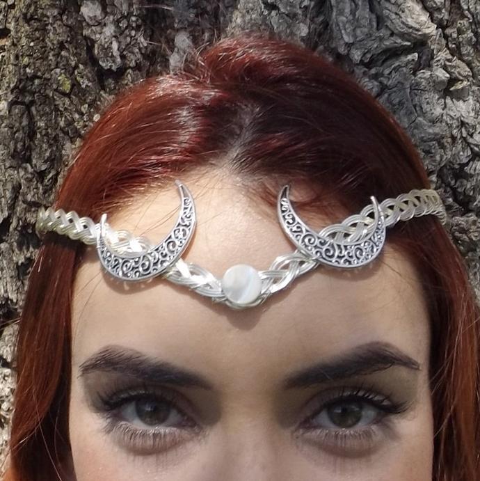 Silver Moon Goddess Circlet, Crown, Tiara