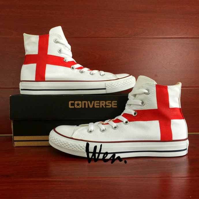 Hand Painted Flag Shoes Design England Flag Converse All Star Chuck Taylor Men