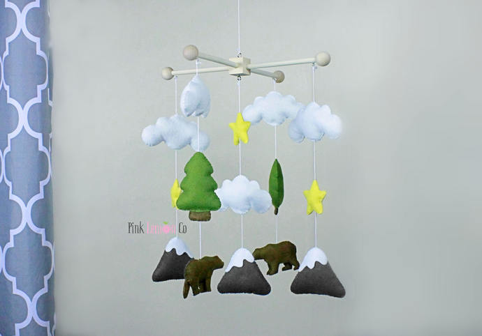 baby mobile,bear mobile, besr cot mobile, woodland baby mobile,forest baby