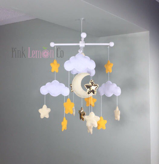 baby mobile, moon and stars baby mobile, gender neutral baby mobile, star baby