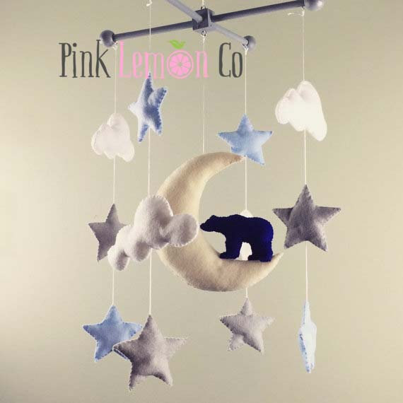 bear baby mobile - woodland baby mobile - baby mobile woodland - bear nursery