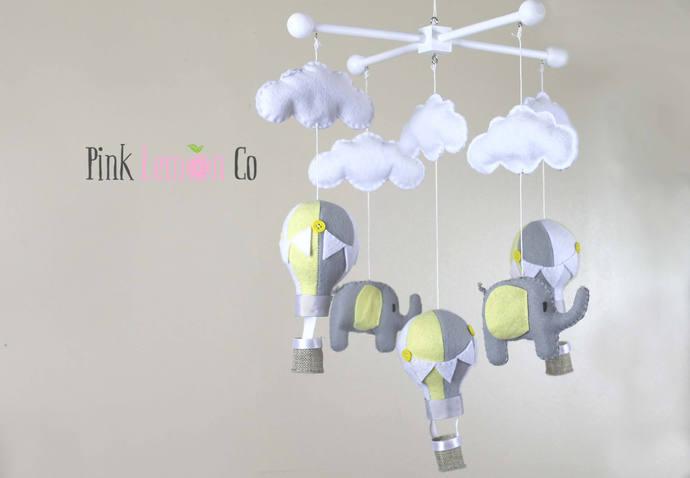 baby mobile - balloon baby mobile - hot air balloon mobile - nursery baby mobile