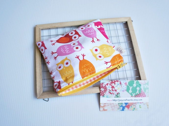 Owls small card zip pouch