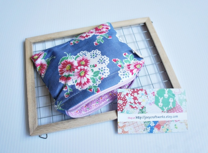 Vintage flowers small card zip pouch