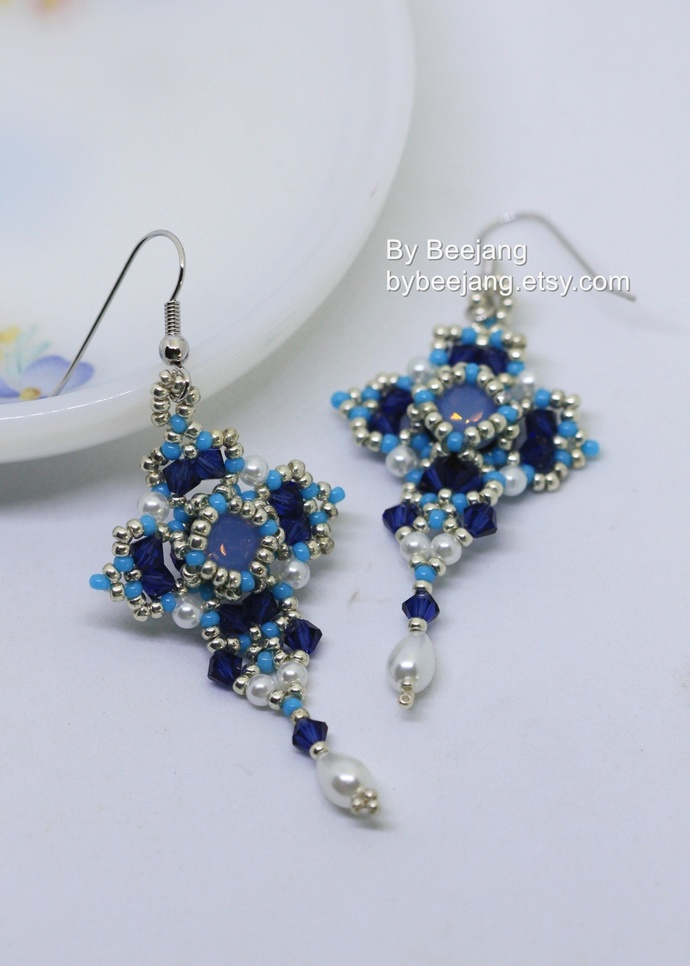 PDF Tutorial - Manuela Earrings Instant download Beadweaving Instruction Beading