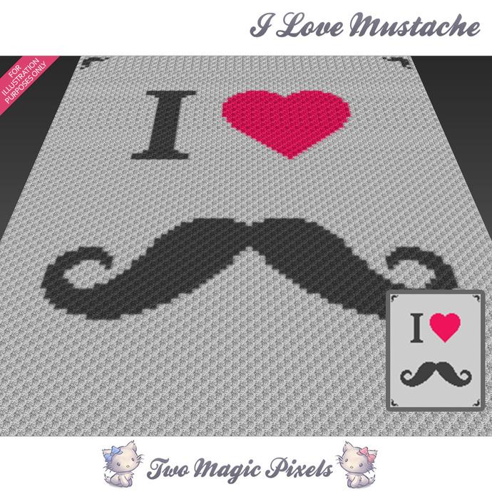 I Love Mustache Crochet Blanket Pattern By Twomagicpixels On Zibbet