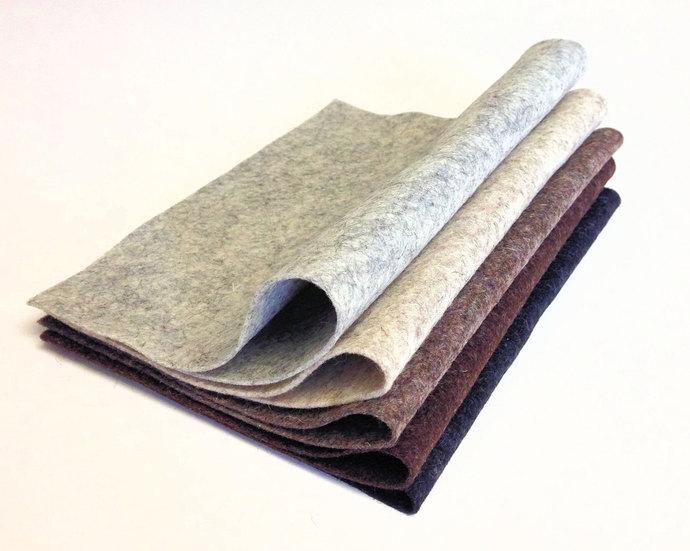 "5 Pack Heather Colors 8"" x 12"" Sheets Merino Wool Felt"