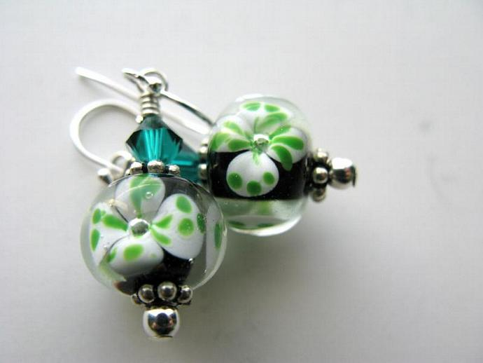 Luck of the Irish Earrings - Shamrock Artisan Lampwork Emerald Swarovski Crystal