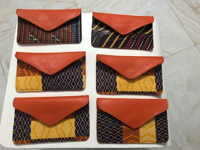 African Print Leather Wallet