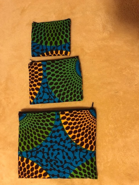 African Wax Fabric Pouches