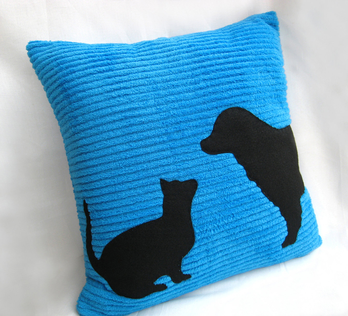 Custom Your Color. Cat And Dog Silhouettes Blue Black Decorative Pillow Cover