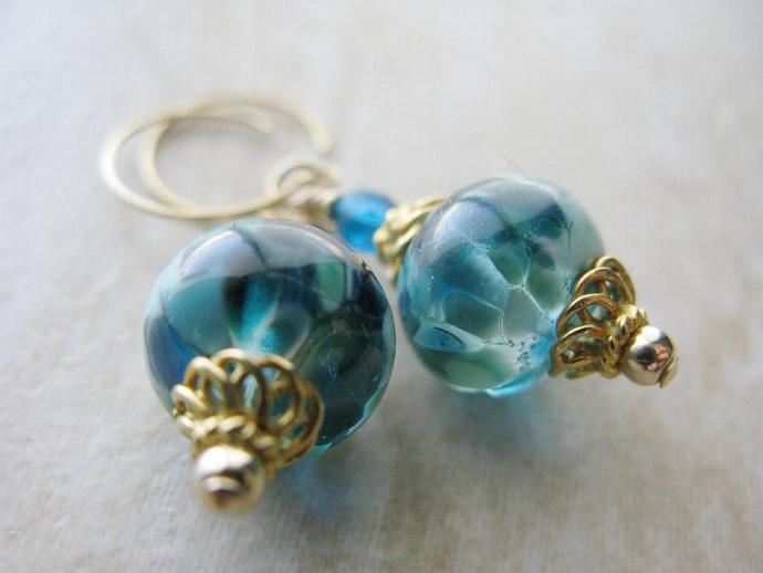Temple of Poseidon Earrings - Gorgeous Aqua and Teal Artisan Lampwork Capri Blue