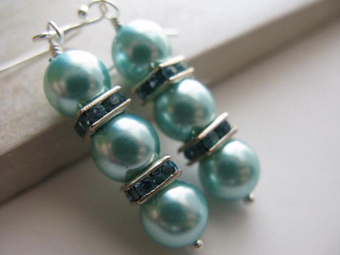 Aqua Perla Earrings - Aqua Czech Glass Pearls Swarovski Blue Zircon Rhinestone