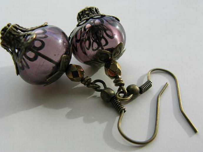 Imperial Grapes Earrings - Purple Artisan Lampwork Hollows Faceted Bronze Czech