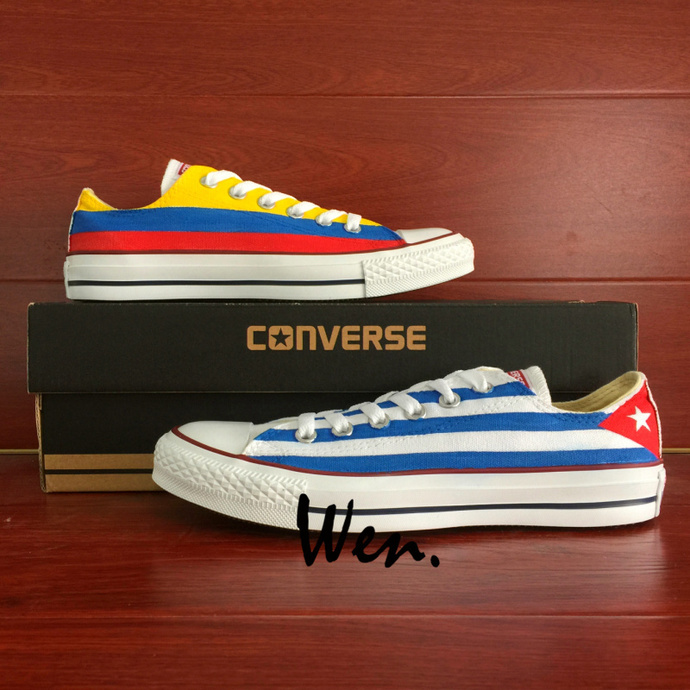 Design Cuba Flag Columbia Flag Hand Painted Shoes Low Top Converse All Star Man