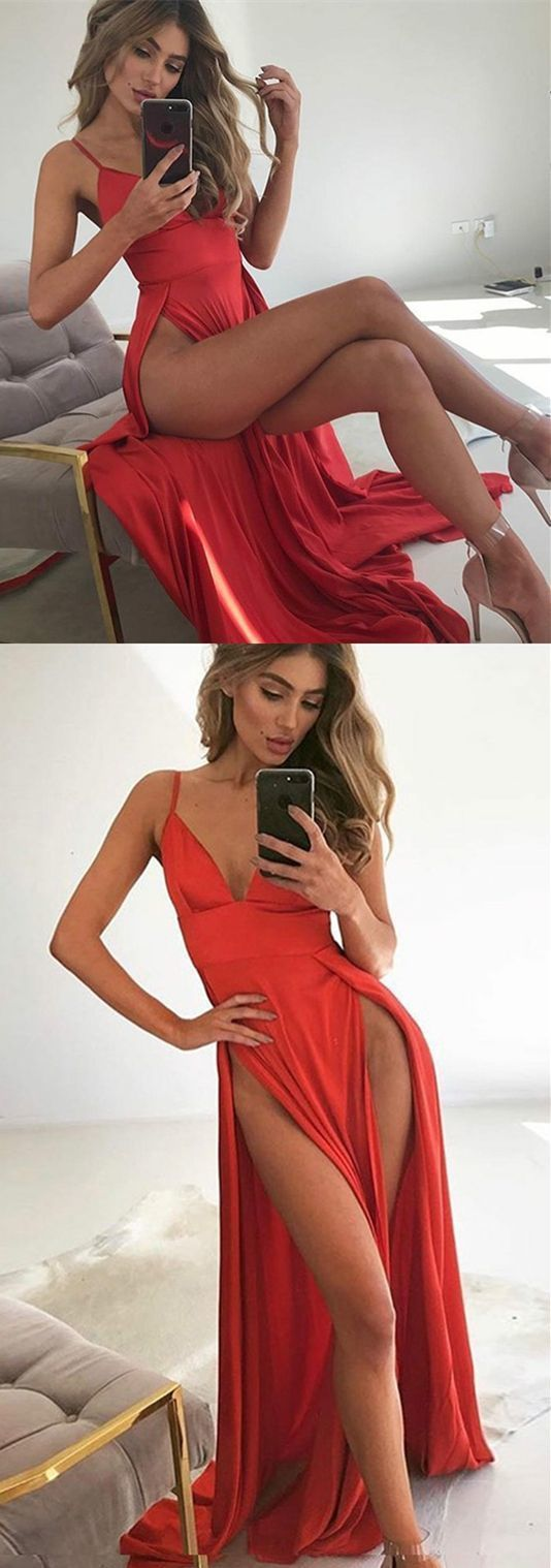 A-Line Spaghetti Straps Sweep Train Red Prom Dress with Split prom dresses