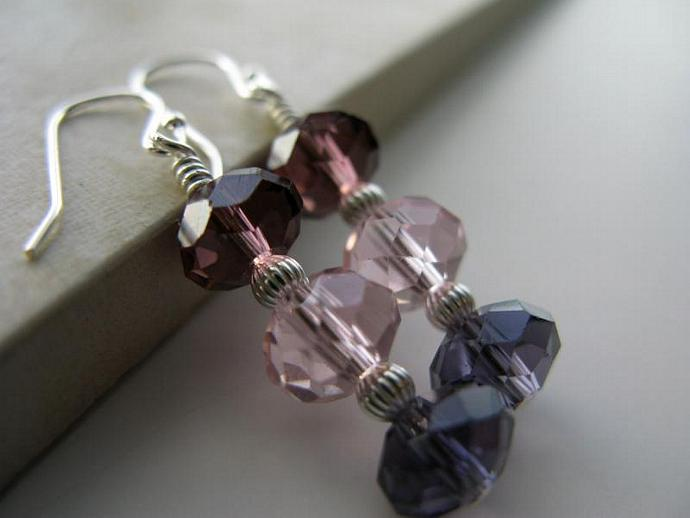 Amethyst Sunset Earrings - Burgundy Rose Pink Purple Faceted Glass Rondelles