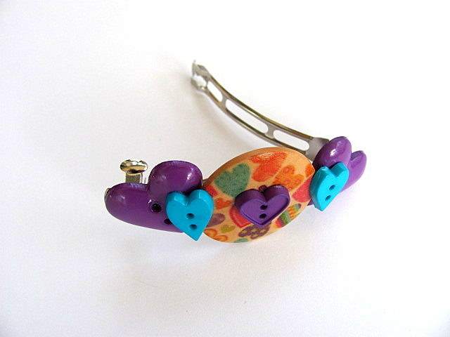 About Hearts Button Barrette FREE US Shipping