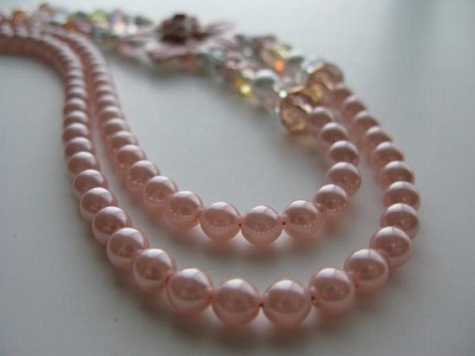 Pretty in Pink Necklace - Tea Rose Pink 5-petal Swarovski Flower Pendant Pastel