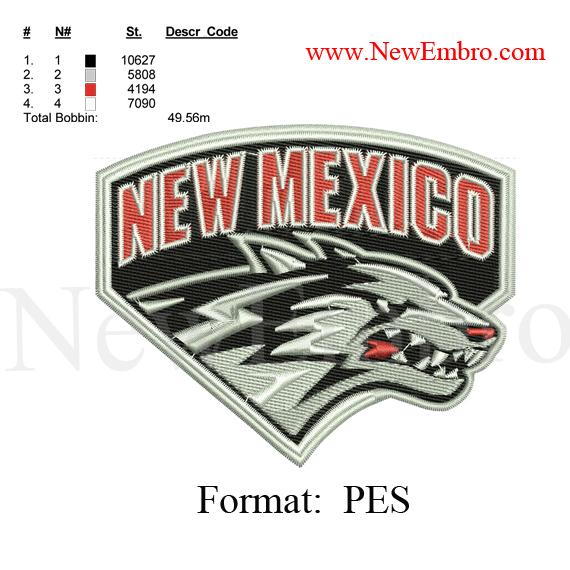 Custom embroidery design ,new mexico baseball logo,new mexico baseball