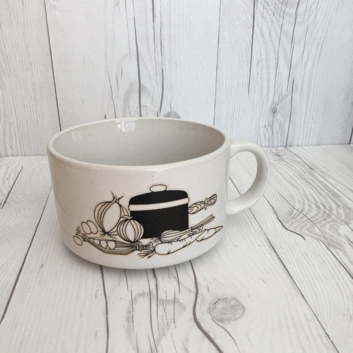 Vintage Kitchen Pot and Vegetable Soup Recipe Mug Bowl