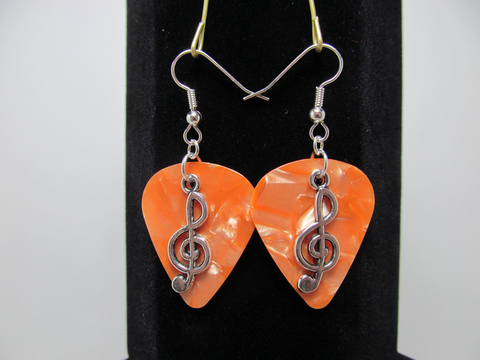Treble Clef Guitar Pick Earrings